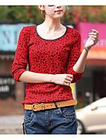 Недорогие -Для женщин На выход Футболка Круглый вырез,Уличный стиль Леопард Длинные рукава,Полиэстер