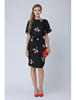 cheap -Women's Work Going out Casual Street chic A Line Midi Dress, Floral Round Neck Short Sleeves