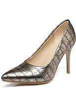preiswerte -Damen Schuhe Kunstleder Frühling Herbst Pumps High Heels Stöckelabsatz Spitze Zehe für Hochzeit Party & Festivität Gold Schwarz Silber