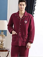 abordables -Costumes Pyjamas Homme,Couleur Pleine Epais Coton Bleu Vin