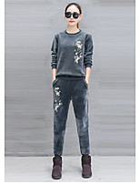 cheap -Women's Going out Casual/Daily Active Spring Fall Set Pant Suits,Floral Round Neck Long Sleeve Oversized Polyester Micro-elastic
