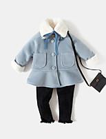 Недорогие -Девочки Куртка / пальто Повседневные Хлопок Бамбуковая ткань Акрил Спандекс Однотонный Длинный рукав Винтаж Мультяшная тематика Синий