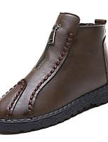 abordables -Mujer Zapatos Goma Invierno Otoño Confort Botas Tacón Plano Dedo redondo para Negro Morrón Oscuro