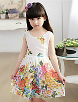 cheap -Girl's Daily Floral Dress,Cotton Summer Sleeveless Chinoiserie White