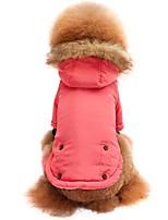 economico -Gatto Cane T-shirt Felpe con cappuccio Felpa Abbigliamento per cani Alla moda Tenere al caldo Solidi Rosa Costume Per animali domestici