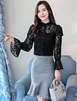 economico -T-shirt Da donna Quotidiano Per uscire Casual Moda città Autunno,Tinta unita Colletto alla coreana Cotone Poliestere Maniche lunghe Medio