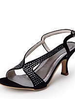 cheap -Women's Shoes Silk Spring Summer Basic Pump Wedding Shoes Low Heel Peep Toe Rhinestone Buckle for Wedding Party & Evening Black