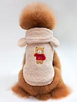 economico -Gatto Cane T-shirt Felpe con cappuccio Felpa Abbigliamento per cani Animali Alla moda Tenere al caldo Orso Beige Viola Caffè Rosso Blu