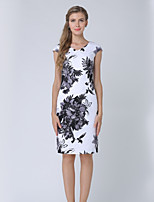 cheap -Women's Work Going out Casual Street chic A Line Midi Dress Print Round Neck Short Sleeves