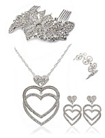 preiswerte -Damen Haarkämme Braut-Schmuck-Sets Strass Europäisch Modisch Hochzeit Party Diamantimitate Aleación Geometrische Form Linienform Herz