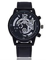 Недорогие -Муж. Модные часы Наручные часы Китайский Кварцевый Календарь Крупный циферблат Кожа Группа На каждый день минималист Черный Синий