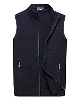 cheap -Men's Going out Street chic Regular Vest,Solid Stand Sleeveless Polyester Fall Thick Micro-elastic