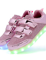 cheap -Girls' Shoes Sparkling Glitter Synthetic Spring Summer Light Up Shoes Comfort Sneakers LED Hook & Loop for Casual Outdoor Pink Silver Gold