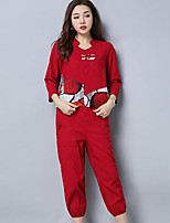 cheap -Women's Casual/Daily Chinoiserie Fall T-Shirt Pant Suits,Print V Neck Long Sleeves Polyester