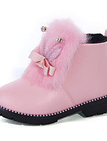 cheap -Girls' Shoes Leatherette Spring Fall Comfort Bootie Boots for Casual Pink Red Black