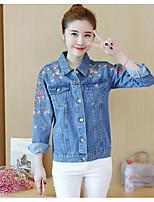 cheap -Women's Going out Street chic Fall Denim Jacket,Floral Print Shirt Collar Long Sleeve Regular Cotton Embroidered