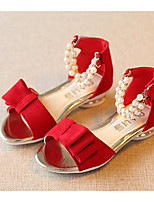 cheap -Girls' Shoes Nubuck leather Spring Fall Comfort Flower Girl Shoes Sandals for Casual Pink Red Black