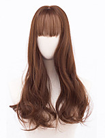 cheap -Women Synthetic Wig Medium Length Long Curly Black Dark Auburn Medium Auburn With Bangs Party Wig Natural Wigs Costume Wig