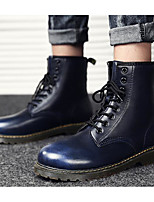 cheap -Men's Shoes PU Winter Fall Combat Boots Comfort Boots Mid-Calf Boots for Casual Black Coffee Blue Wine