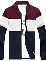 cheap -Men's Going out Regular Cardigan,Color Block Round Neck Long Sleeves Polyester Winter Fall Thick Micro-elastic