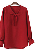 cheap -Women's Vintage Linen Shirt - Solid V Neck