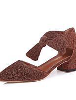Недорогие -Жен. Обувь Полиуретан Весна Лето Удобная обувь Обувь на каблуках На толстом каблуке для Повседневные Золотой Серебряный