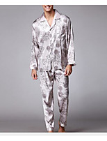 abordables -Costumes Pyjamas Homme Fin Polyester Noir Gris Vin Kaki Bleu royal