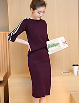 cheap -Women's Going out Casual/Daily Simple Fall Sweater Skirt Suits,Striped Round Neck Long Sleeves Cotton Polyester