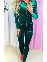 cheap -Women's Casual/Daily Simple All Seasons Hoodie Pant Suits,Solid Hooded Long Sleeve Oversized Polyester Stretchy
