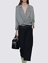 cheap -Women's Daily Vintage Spring All Seasons Set Pant Suits,Solid Shirt Collar Long Sleeve Polyester