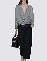 preiswerte -Damen Solide Retro Alltag Set Hose Anzüge,Hemdkragen Frühling Ganzjährig Langärmelige Polyester