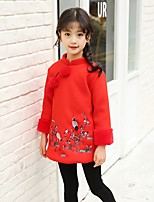 cheap -Girl's Daily Floral Dress,Cotton Polyester Spring All Seasons Long Sleeves Cute Blushing Pink Red