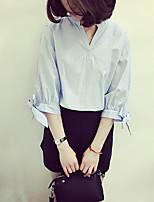 cheap -Women's Casual/Daily Active Spring/Fall Shirt,Solid V Neck 3/4 Length Sleeve Cotton Medium