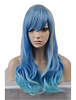 cheap -New fashion wig long section of blue and silver wavy high temperature silk wig