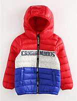cheap -Girls' Solid Down & Cotton Padded Winter Orange Red Yellow