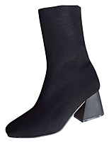 cheap -Women's Shoes PU Fabric Spring Fall Comfort Boots Chunky Heel Square Toe Mid-Calf Boots for Casual Black