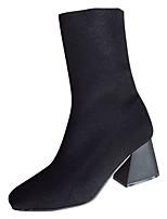 Недорогие -Для женщин Обувь Ткань Полиуретан Весна Осень Удобная обувь Ботинки На толстом каблуке Квадратный носок Сапоги до середины икры для