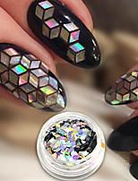 abordables -1pc Luxe Nail Glitter Paillettes Nail Glitter Argenté Dessin Nail Art Design Conseils d'art des ongles