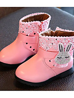 cheap -Girls' Shoes Leatherette Winter Fall Comfort Fashion Boots Boots Booties/Ankle Boots for Casual Pink Red Black