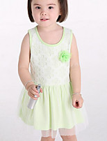 cheap -Girl's Daily Solid Dress Street chic Blue Blushing Pink Yellow Light Green
