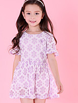 cheap -Girl's Solid Dress,Polyester Summer Short Sleeves Cute Purple Blushing Pink White Green