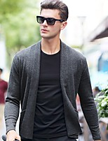 cheap -Men's Daily Short Cardigan,Solid V Neck Long Sleeves Polyester Winter Fall Opaque Micro-elastic