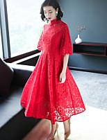 Недорогие -Для женщин Для вечеринок Секси Шинуазери (китайский стиль) Оболочка Платье Однотонный,Воротник-стойка Средней длины Половина рукава