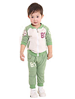 cheap -Boys' Daily Sports Letter Clothing Set,Cotton Spring Fall Long Sleeve Casual Green Blue