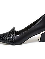 preiswerte -Damen Schuhe PU Frühling Herbst Komfort High Heels Niedriger Heel für Draussen Schwarz