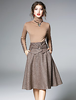 cheap -MAXLINDY Women's Going out Work Vintage Casual Winter Fall Sweater Skirt SuitsColor Block Patchwork Turtleneck Long Sleeve Knitting Cotton