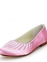 preiswerte -Damen Schuhe Seide Frühling Sommer Ballerina Hochzeit Schuhe Flacher Absatz Runde Zehe Strass für Hochzeit Party & Festivität Rosa