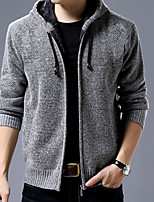 cheap -Men's Daily Regular Cardigan,Polka Dot Hooded Long Sleeve Polyester Winter Fall Thick strenchy