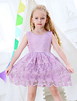 cheap -Girl's Birthday Daily Solid Patchwork Camouflage Color Dress,Rayon Polyester Summer Sleeveless Cute Princess Purple White Green