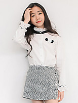 cheap -Girls' Color Block Shirt,Polyester All Seasons Long Sleeve Vintage White